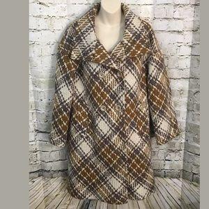 Talbots Wool Blend Beige Knit Double Breasted Coat
